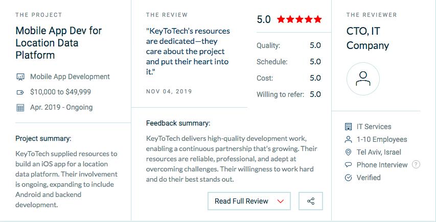 5 star review for software development team keytotech