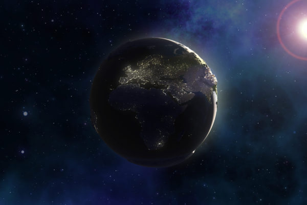 3D render of a space background with Earth in nebula sky